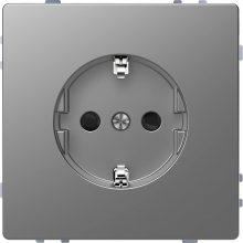 Schneider Merten MTN2300-6036 földelt csatlakozóaljzat (dugalj), gyermekvédelemmel, 2P+F, acél burkolattal, keret nélkül, süllyesztett, 16A 250V (Merten D-Life)