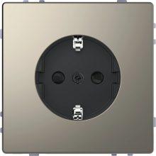 Schneider Merten MTN2300-6050 földelt csatlakozóaljzat (dugalj), gyermekvédelemmel, 2P+F, nikkel burkolattal, keret nélkül, süllyesztett, 16A 250V (Merten D-Life)