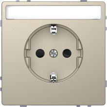 Schneider Merten MTN2302-6033 földelt csatlakozóaljzat (dugalj), csapófedéllel, gyermekvédelemmel, feliratozható, 2P+F, szahara burkolattal, keret nélkül, süllyesztett, 16A 250V (Merten D-Life)