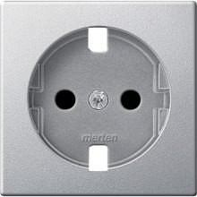 Schneider Merten MTN2331-0460 földelt csatlakozóaljzat (dugalj) burkolat, 2P+F, alumínium , süllyesztett, 16A 250V (Merten M-Smart, M-Plan, M-Elegance)