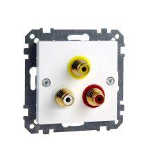 Schneider Merten MTN4351-0325 RCA (audio-video) csatlakozóaljzat aktív fehér (antibakteriális) burkolattal kerét nélkül (Merten M-Smart, M-Plan, M-Elegance)