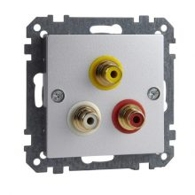 Schneider Merten MTN4351-0460 RCA (audio-video) csatlakozóaljzat alumínium burkolattal kerét nélkül (Merten M-Smart, M-Plan, M-Elegance)