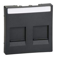 Schneider MTN4564-0414 antracit burkolat 2xRJ45 moduláris betétekhez, feliratozható (Merten M-Smart, M-Plan, M-Elegance)