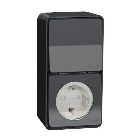 Schneider Electric Mureva Styl MUR36024 IP55 vízmentes kombináció, földelt csatlakozóaljzat (dugalj) 2P+F + váltókapcsoló (106), antracitszürke, komplett szerelvény, falon kívüli, vízmentes (IP55) 10A 250 ( MUR36024 ).