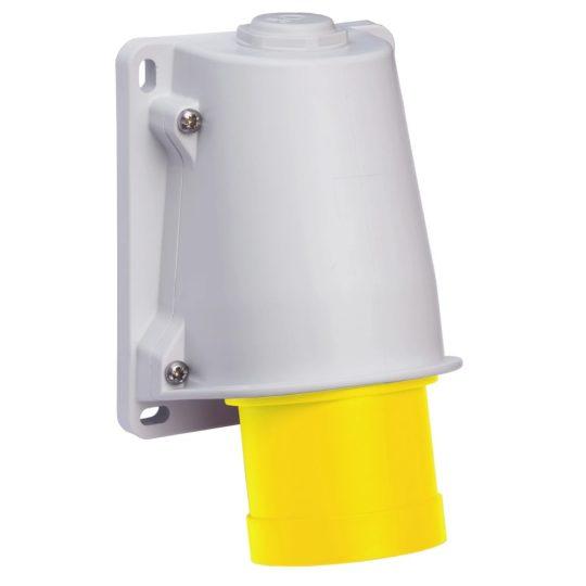 Schneider Electric, PKE32W413, ipari csatlakozó rögzíthető dugvilla 3P (2P+F) 32A 4h, 130V 50/60 Hz, IP44, sárga, csavaros csatlakozás, PratiKa (Schneider PKE32W413)