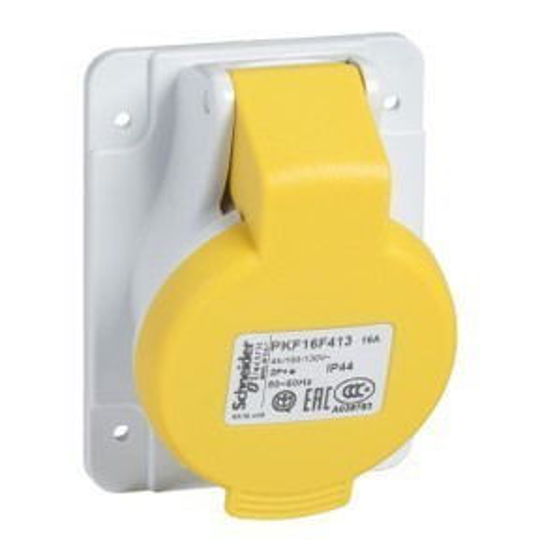 Schneider Electric, PKF32F413, ipari csatlakozó beépíthető dugalj ferde 3P (2P+F) 32A 4h, 130V 50/60 Hz, IP44, sárga, csavaros csatlakozás, PratiKa (Schneider PKF32F413)