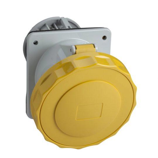 Schneider Electric, PKF32F713, ipari csatlakozó beépíthető dugalj ferde 3P (2P+F) 32A 4h, 130V 50/60 Hz, IP67, sárga, csavaros csatlakozás, PratiKa (Schneider PKF32F713)