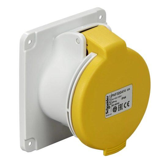 Schneider Electric, PKF32G413, ipari csatlakozó beépíthető dugalj egyenes 3P (2P+F) 32A 4h, 130V 50/60 Hz, IP44, sárga, csavaros csatlakozás, PratiKa (Schneider PKF32G413)