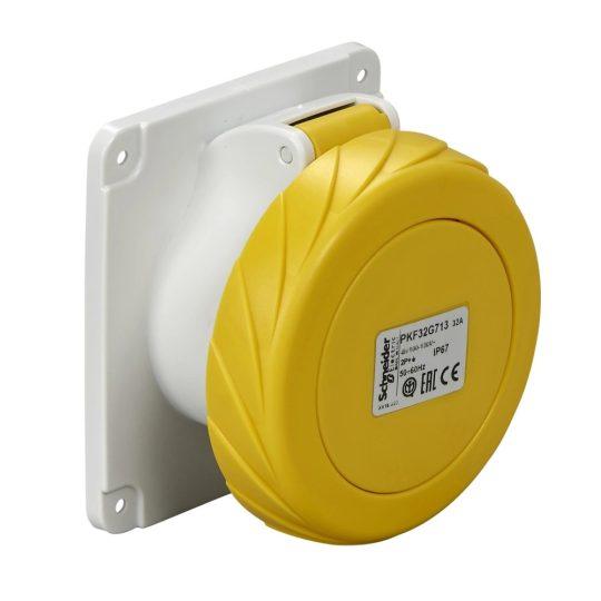 Schneider Electric, PKF32G713, ipari csatlakozó beépíthető dugalj egyenes 3P (2P+F) 32A 4h, 130V 50/60 Hz, IP67, sárga, csavaros csatlakozás, PratiKa (Schneider PKF32G713)