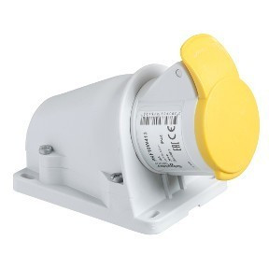 Schneider Electric, PKF32W413, ipari csatlakozó rögzíthető dugalj 3P (2P+F) 32A 4h, 130V 50/60 Hz, IP44, sárga, csavaros csatlakozás, PratiKa (Schneider PKF32W413)