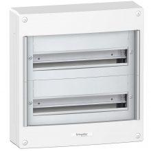 Műanyag kiselosztó, 36 modul, 2 sor, ajtó nelkül, IP30 (IP40 ajtóval, külön rendelhető), falon kívüli, Pragma (Schneider PRA20218)