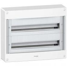 Műanyag kiselosztó, 48 modul, 2 sor, ajtó nelkül, IP30 (IP40 ajtóval, külön rendelhető), falon kívüli, Pragma (Schneider PRA20224)