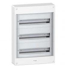 Műanyag kiselosztó, 54 modul, 3 sor, ajtó nelkül, IP30 (IP40 ajtóval, külön rendelhető), falon kívüli, Pragma (Schneider PRA20318)