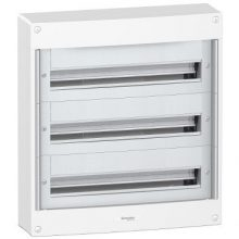Műanyag kiselosztó, 72 modul, 3 sor, ajtó nelkül, IP30 (IP40 ajtóval, külön rendelhető), falon kívüli, Pragma (Schneider PRA20324)