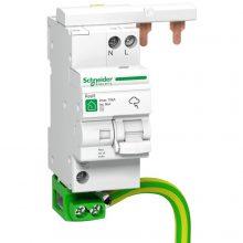 Túlfeszültség levezető (fixbetétes egybeépített leválasztó kismegszakítóval) 1 pólus, C (T2) fokozatú, távjelző nélküli, 230 AC/10 kA Quick PF Resi9 (Schneider Electric R9L16610)