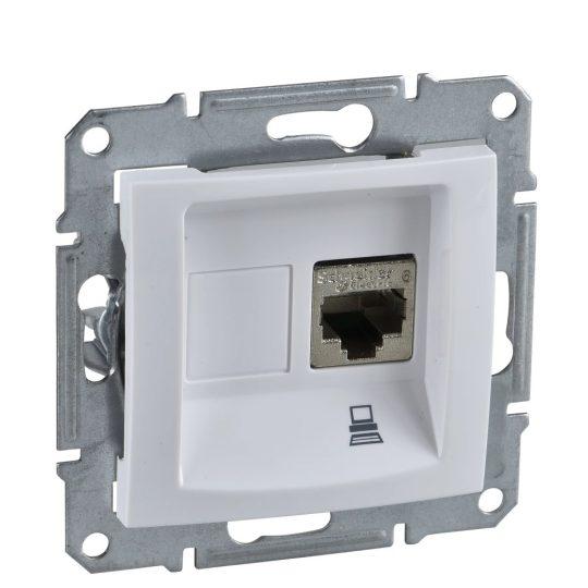 Schneider Electric Sedna SDN4300121 Informatikai csatlakozóaljzat 1xRJ45, Cat5e UTP, fehér burkolattal, keret nélkül ( SDN4300121 ).