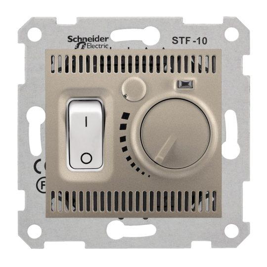 Schneider Electric Sedna SDN6000368 szobatermosztát padlófűtéshez, titánium burkolattal. keret nélkül ( SDN6000368 ).