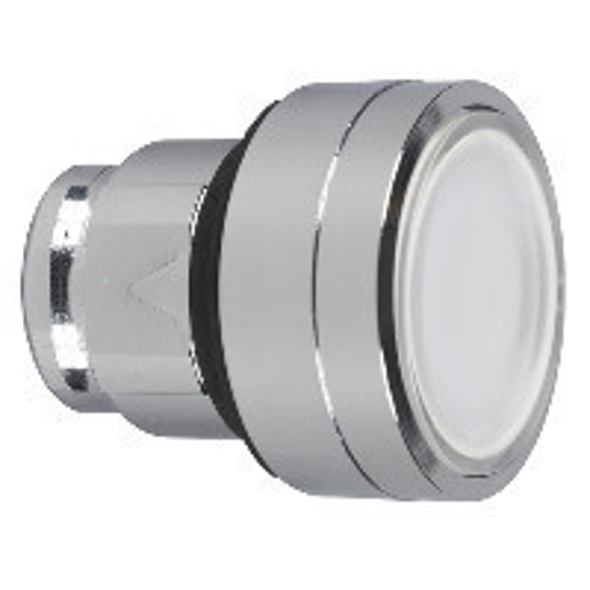 Schneider ZB4BA18 Harmony fém nyomógomb fej, Ø22, visszatérő, címkézhető tetővel, fehér