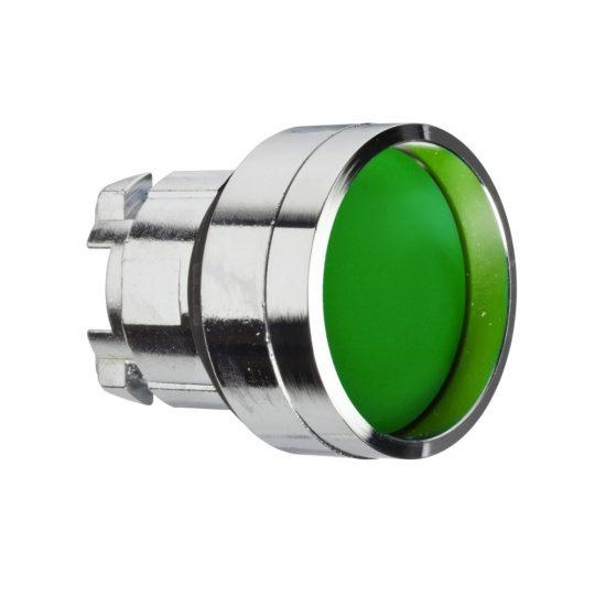 Schneider ZB4BA36 Harmony fém nyomógomb fej, Ø22, visszatérő, mélyítet, zöld