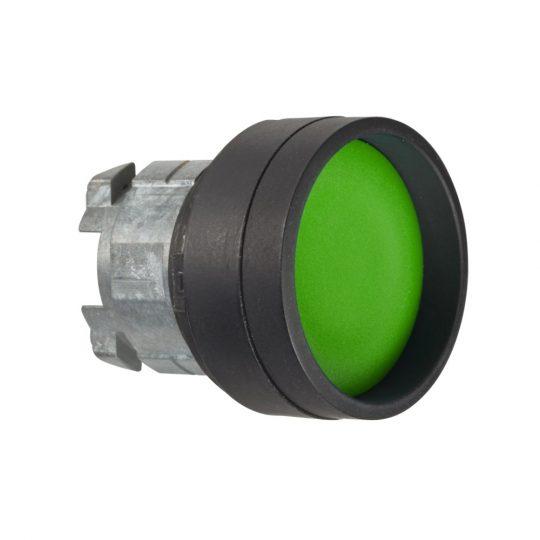 Schneider ZB4BA367 Harmony fém nyomógomb fej, Ø22, visszatérő, mélyítet, zöld, fekete perem
