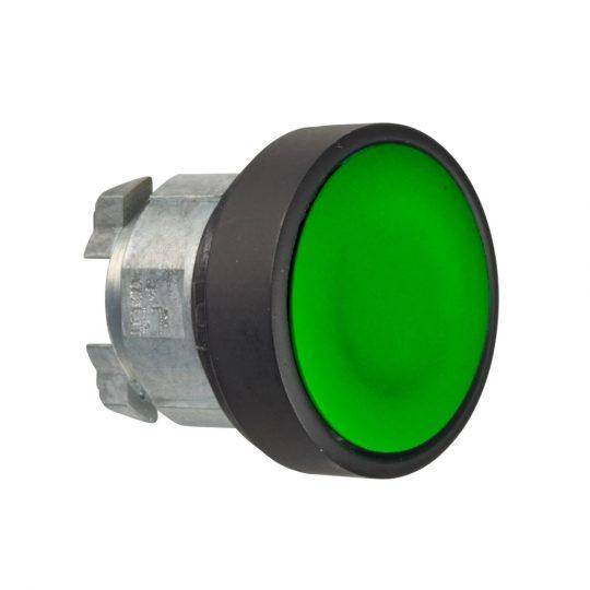 Schneider ZB4BA37 Harmony fém nyomógomb fej, Ø22, visszatérő, zöld, fekete perem