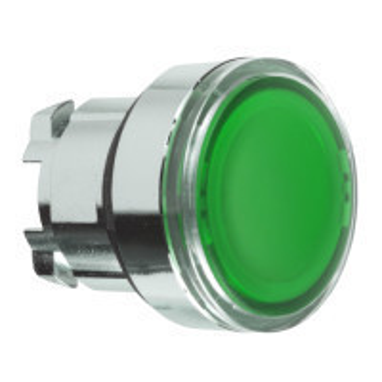 Schneider ZB4BA38 Harmony fém nyomógomb fej, Ø22, visszatérő, címkézhető tetővel, zöld