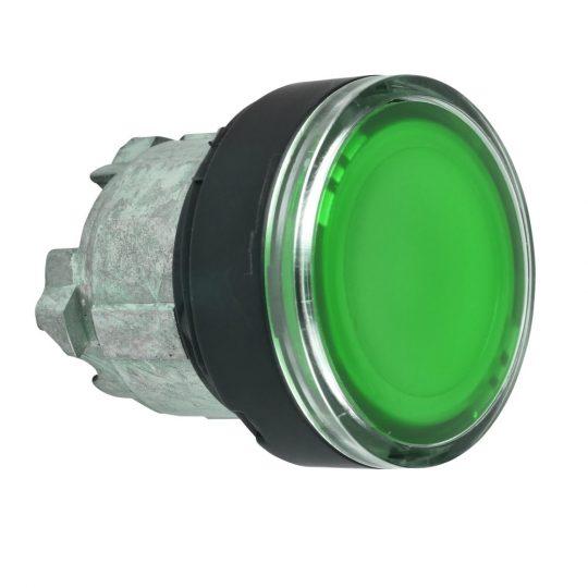 Schneider ZB4BA387 Harmony fém nyomógomb fej, Ø22, visszatérő, címkézhető tetővel, zöld, fekete perem