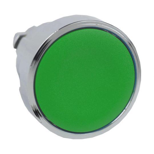 Schneider ZB4BA3TQ Harmony fém nyomógomb fej, Ø22, visszatérő, címkézhető tetővel, zöld 100 darabos csomagban