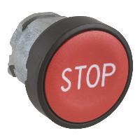 """Schneider ZB4BA4347 Harmony fém nyomógomb fej, Ø22, visszatérő, piros, """"STOP"""", fekete perem"""