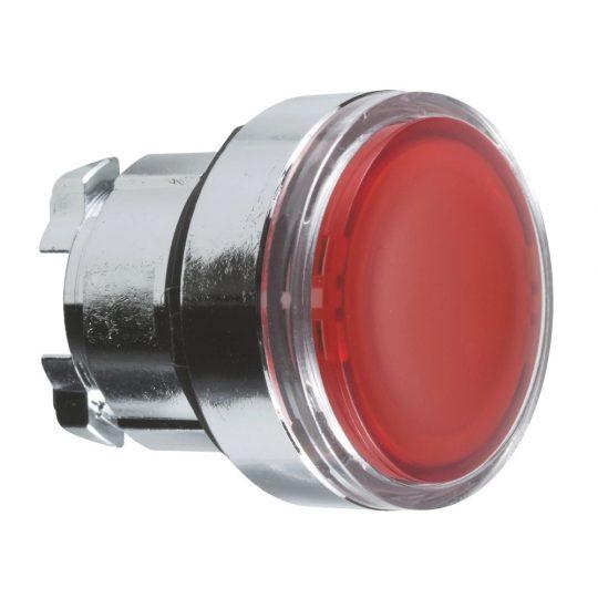 Schneider ZB4BA48 Harmony fém nyomógomb fej, Ø22, visszatérő, címkézhető tetővel, piros