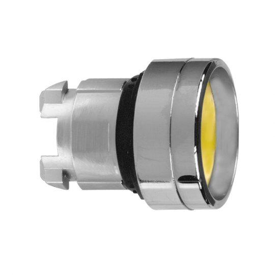 Schneider ZB4BA56 Harmony fém nyomógomb fej, Ø22, visszatérő, mélyítet, sárga