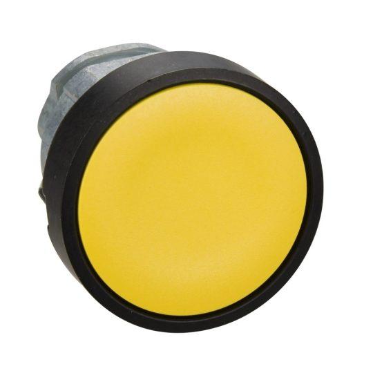 Schneider ZB4BA57 Harmony fém nyomógomb fej, Ø22, visszatérő, sárga, feete perem