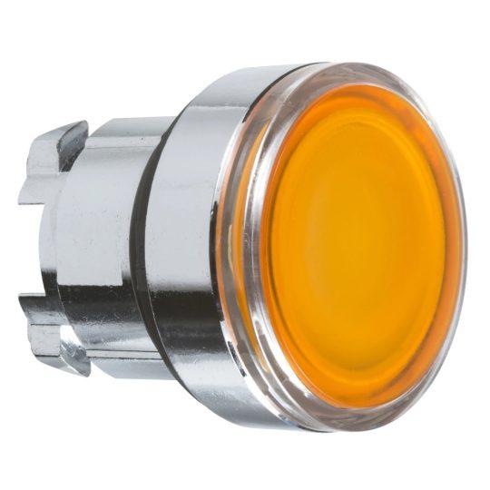 Schneider ZB4BA58 Harmony fém nyomógomb fej, Ø22, visszatérő, címkézhető tetővel, sárga