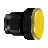 Schneider ZB4BA587 Harmony fém nyomógomb fej, Ø22, visszatérő, címkézhető tetővel, sárga, fekete perem
