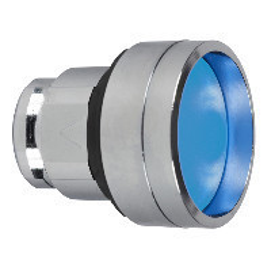 Schneider ZB4BA66 Harmony fém nyomógomb fej, Ø22, visszatérő, mélyítet, kék