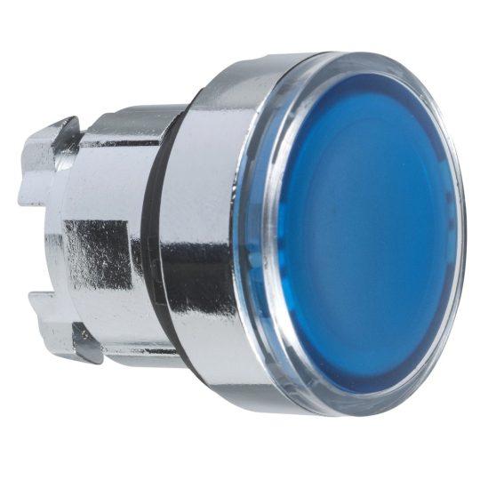 Schneider ZB4BA68 Harmony fém nyomógomb fej, Ø22, visszatérő, címkézhető tetővel, kék