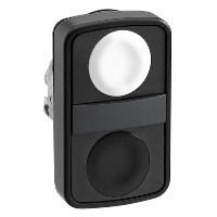 Schneider ZB4BA71207 Harmony fém kettősfejű nyomógomb fej, Ø22, visszatérő, 1 fehér 1 fekete nyomógomb, fekete perem