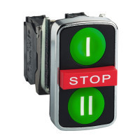 Schneider ZB4BA731327 Harmony fém kettősfejű nyomógomb fej, Ø22, visszatérő, 1-1 zöld I/II nyomógomb, piros kiemelkedő STOP gomb, fekete perem