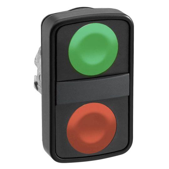 Schneider ZB4BA73407 Harmony fém kettősfejű nyomógomb fej, Ø22, visszatérő, 1-1 zöld/piros nyomógomb, fekete perem
