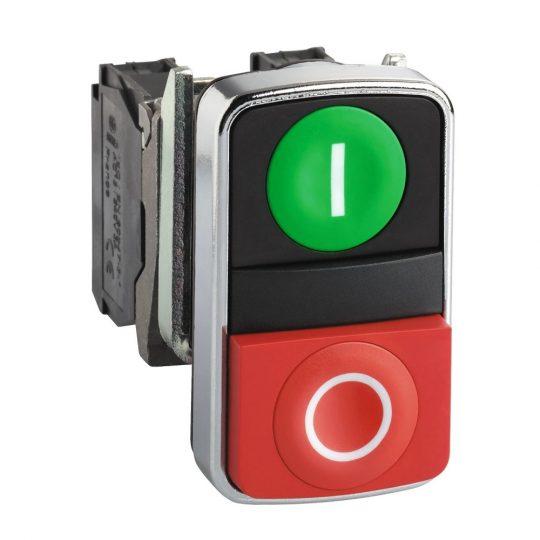 "Schneider ZB4BA7341 Harmony fém kettősfejű nyomógomb fej, Ø22, visszatérő, 1 zöld ""I"" 1 kiemelkedő piros ""O"" nyomógomb"