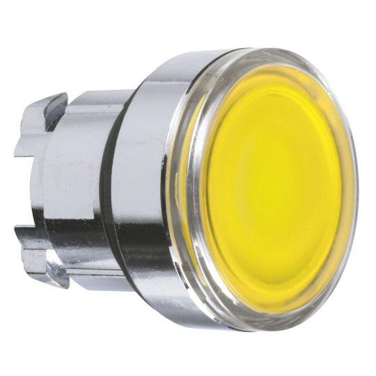 Schneider ZB4BA88 Harmony fém világító nyomógomb fej, Ø22, visszatérő, sárga, betehető címke