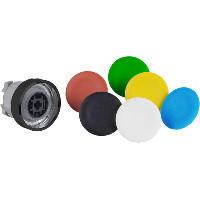 Schneider ZB4BA97 Harmony fém nyomógomb fej, Ø22, visszatérő, 6 eltérű színű nyomógomb tető, fekete perem