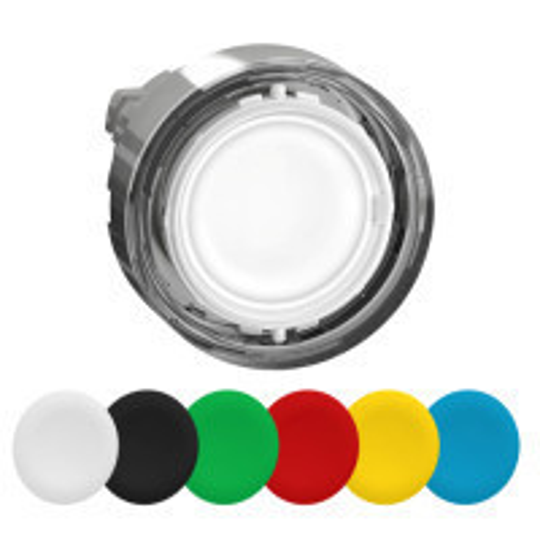 Schneider ZB4BA98 Harmony fém világító nyomógomb fej, Ø22, visszatérő, 6 eltérű színű nyomógomb tető