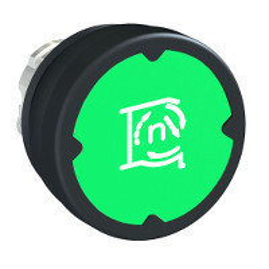 Schneider ZB4BC38067 Harmony fém durva környezeti nyomógomb fej, Ø22, visszatérő, zöld, szimbólummal