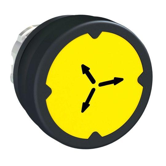Schneider ZB4BC58009RA Harmony fém durva környezeti nyomógomb fej, Ø22, visszatérő, sárga, elforgatott szimbólummal