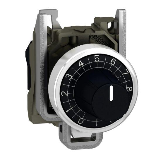 Schneider ZB4BD912 Harmony fém potencióméter fej és rögzítő, Ø22, fekete