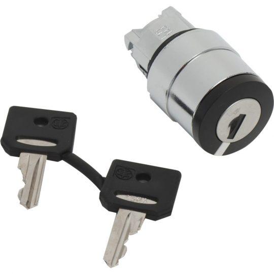 Schneider ZB4BG410 Harmony fém választókapcsoló fej, Ø22, 458A kulcsos, minden pozícióban kivehető, 2 állású