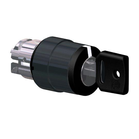 Schneider ZB4BG57 Harmony fém választókapcsoló fej, Ø22, 455 kulcsos, bal és jobb pozícióban kivehető, 3 állású, fekete perem