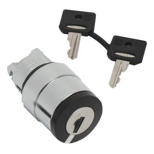Schneider ZB4BG620 Harmony fém választókapcsoló fej, Ø22, 3131A kulcsos, bal poz. kivehető, jobbról visszatérő, 2 állású