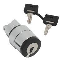Schneider ZB4BG710 Harmony fém választókapcsoló fej, Ø22, 458E kulcsos, középső pozícióban kivehető, középre visszatérő, 3 állású